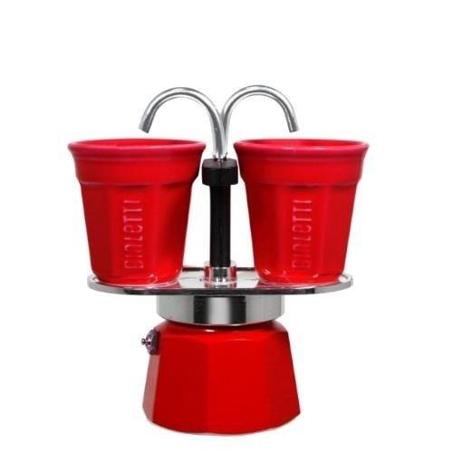 Bialetti Mini Express 2tz czerwona + 2 filiżanki