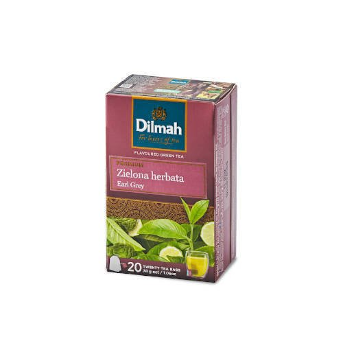 Dilmah Green Tea Earl Grey - zielona herbata 20 torebek