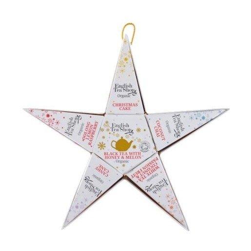 English Tea Shop Holiday Collection Red Silver - gwiazdka 6 piramidek