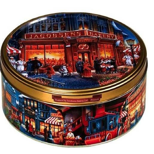 Jacobsens The Marketplace - duńskie ciastka w puszce 150g niebieska
