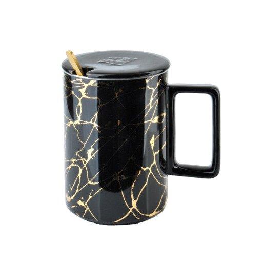 Kubek do herbaty marmurkowy czarny 330 ml