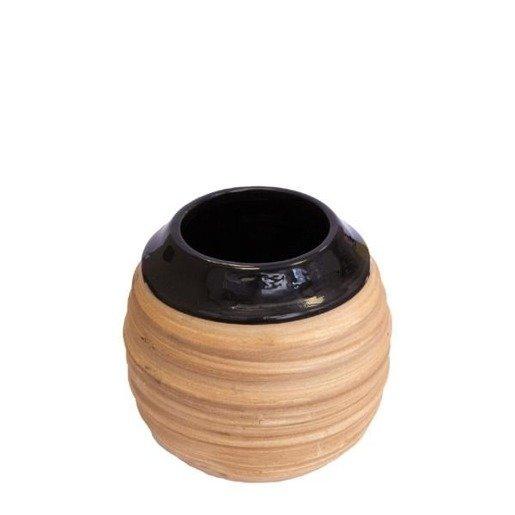 Matero Ceramiczne Miodowe - Czarne Szkliwione do yerba mate