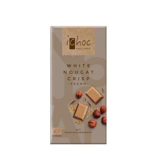 iChoc czekolada biała nugatowa z orzechami laskowymi 80g